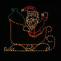Frontgate - Lighted Outdoor Santa in Sleigh - Outdoor Christmas Decorations - Commercial-grade lights on a steel frame. 700 multicolored incandescent lights. 120V. UL listed. Lead cord measures 3'L. Exciting and entertaining for adults and children alike, our Lighted Outdoor Santa in Sleigh is a perfectly festive addition to any setting. With 700 brightly glowing lights, Old St. Nick brings a lustrous array of color to your outdoor holiday decor.  .  .  .  .  . Includes Y stake .