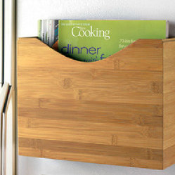 Magnetic Bamboo File Box - Banish messy fridge doors overrun with papers with these sleek magnetic boxes.
