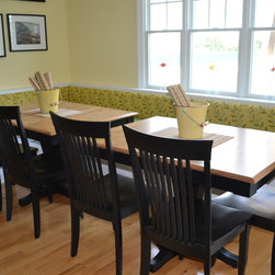 Banquettes - Banquette upholstery for a beach house in Avalon, NJ.  Both fabrics are indoor/outdoor by Bella-Dura.  This client chose to use two tables to allow for more flexibility and easier access to the middle of the longer bench.