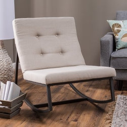 Belham Living Grayson Tufted Rocking Chair - You don't have to sit in a creaky, wooden chair to enjoy the simple pleasure of a rocking chair, not when you can add the sophisticated simplicity of the Grayson Tufted Rocking Chair. The slender frame is crafted from powder-coated square-tube metal that's easily designed for years of use and won't rust or corrode. Squared cushions are filled with thick foam and given a subtle but charming detail of buttons on the seat back. Over that comfy foam is an upholstery of high-quality linen fabric in a neutral and easy-to-match shade that's going to make it an easy addition to any modern or classic space.