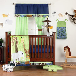 "Jazzie Jungle Boy - Infant Set (3pc no bumper) - Come on in and explore a world of ""adventure"" with ""One Grace Place"" Jazzie Jungle Boy collection.  This 3pc collection includes crib sheet, crib bed skirt and coordinating quilt (BUMPER SOLD SEPARATELY).  Crib sheet is in the collection's navy cotton fabric.  Crib bed skirt is designed with chocolate cotton print fabric and trimmed in all the ""animal"" prints available in this collection.  Coordinating quilt is most ""adventurous"" using all the animals in this jungle appliqu�d on the front of the quilt with green soft minky behind.  Quilt is framed using all the cotton print main animal prints.  Back is green minky to match front. Entire quilt is trimmed in navy cotton fabric.   You can't go wrong with anything this collection has to offer!  SAVE WHEN YOU BUY AS A SET!"