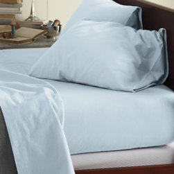Garnet Hill - Garnet Hill Signature Flannel Comforter Cover - King - Whisper Blue - This Signature Flannel bedding is crafted in Germany with a tighter weave than most flannels, making it weightier and more durable. It is gently brushed multiple times on each side until it meets our exacting standards for softness. Cases have an inner flap to conceal the pillow for a neater, more finished look. Our universal fitted sheet is elasticized all the way around for an easier fit. 12-inch pocket depth. Monogramming available.