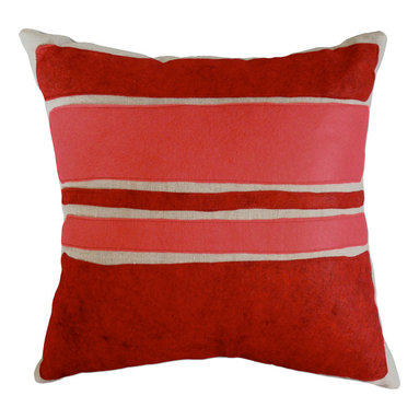 Balanced Design - Felt Appliqué Linen Pillow - Color Block, Red/Strawberry, 16x16 - Get that charming handcrafted look with this appliqued throw pillow in red wool felt on linen. The bold color block design has a modern art feel, contrasting with the traditional vibe of the felt. Try combining this pillow with other bold patterns for a fun, modern look. Made with an ecofriendly insert of 50 percent regenerated fiber from recycled plastic bottles.