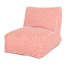Majestic Home - Outdoor Orange Towers Bean Bag Chair Lounger - Add style and functionality to your living room, family room or outdoor patio with the Majestic Home Goods Bean Bag Chair Lounger. This Beanbag Chair has the design of modern furniture, while still giving the comfort of a classic bean bag. Woven from outdoor treated polyester, these loungers have up to 1000 hours of U.V. protection and are able to withstand all of natures elements. The beanbag inserts are eco-friendly by using up to 50% recycled polystyrene beads, and the removable zippered slipcovers are conveniently machine-washable.