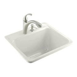 "Kohler - Kohler K-6663-1-0 White Glen Falls Glen Falls Self-rimming Utility - Glen Falls(tm) self-rimming utility sink with one-hole faucet drilling The Glen Falls laundry sink offers traditional styling with a deep-basin design that fits most standard cabinets. Intended for self-rimming installation, this model features durable KOHLER(R) Cast Iron construction for years of reliable performance.  25""L x 22""W 13"" depth Self-rimming installation One-hole faucet drilling"
