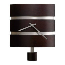 HOWARD MILLER - Howard Miller Morrison Wall Clock - This contemporary rectangular wood wall clock features a curved front with recessed brushed nickel bands, with complementing brushed nickel finished hands.