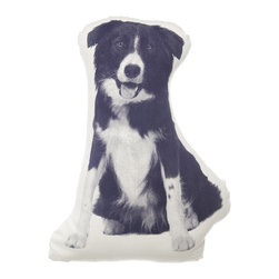 Areaware - MINI Border Collie Pillow - A playful pup that never sheds or drools, this adorable throw pillow has an innovative design, which was inspired by the shaped pillows of the Victorian age. This whimsical border collie graphically printed pillow will look so inviting on your favorite chair or sofa.