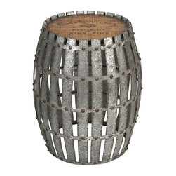 iMax - iMax Gibbs Wood and Metal Barrel - You will love the Gibbs wood and metal barrel! Constructed of galvanized, riveted metal strips with a wooden top bearing a vintage wine logo, it will lend character when used as a side table.