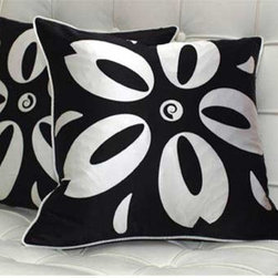 Plush Living - Sakura Black and White Pillows Set of Two - These decorative handmade and hand-screened 100% silk pillow covers come in a beautiful black and white.  They are soft with a 95/5 feather and down pillow insert.  Please note that these pillows are dry clean only.  The cover measures 18? x 18? with a 12? wide zipper opening for easy filling. Plush Living - SAKURA-BW030123P