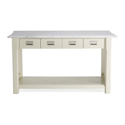 Newland Kitchen Island, White/Marble Top - This portable island is a great option for extra work space. I love the classic look and the durability of the Carrara marble.