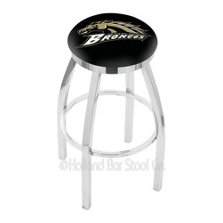 "Holland Bar Stool - Holland Bar Stool L8C2C - Chrome Western Michigan Swivel Bar Stool - L8C2C - Chrome Western Michigan Swivel Bar Stool w/ Accent Ring belongs to College Collection by Holland Bar Stool Made for the ultimate sports fan, impress your buddies with this knockout from Holland Bar Stool. This contemporary L8C2C logo stool has a single-ring chrome base with a 2.5"" cushion and a chrome accent ring that helps the seat to ""pop-out"" at glance. Holland Bar Stool uses a detailed screen print process that applies specially formulated epoxy-vinyl ink in numerous stages to produce a sharp, crisp, clear image of your desired logo. You can't find a higher quality logo stool on the market. The plating grade steel used to build the frame is commercial quality, so it will withstand the abuse of the rowdiest of friends for years to come. The structure is triple chrome plated to ensure a rich, sleek, long lasting finish. Construction of this framework is built tough, utilizing solid mig welds. If you're going to finish your bar or game room, do it right- with a Holland Bar Stool. Barstool (1)"