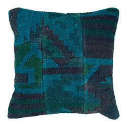 Jaipur Rugs - Blue Bedouin Sahara Pillows Set of 2 - The rich, over-dyed colors of this eclectic pillow would make for a dramatic addition to a sofa or armchair. It feels like you could just jump into all those deep teals and blues.