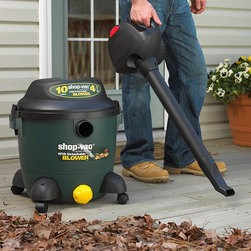 Frontgate - Shop Vac Wet and Dry Vacuum with Detachable Blower - Easily converts to a hand-held detachable blower for yard maintenance. Also serves as a wet/dry vac, and regular dry vac. Lock-on hose. 10-gal. stainless steel tank. 4-1/2 HP motor. This Wet and Dry Vac with Detachable Blower will pick up yard debris as well as water. This powerful vacuum makes quick work of lawn maintenance by removing leaves from driveways, sidewalks, and flowerbeds, making your yard neater. . . . . . 18' power cord.