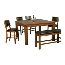 Winners Only - 5-Pc Counter Height Table Set in Walnut Finis - Includes counter height table and four barstools. Bench not included. Stool with upholstered seat and back. Table with one 12 in. leaf. Barstool: 19 in. W x 21 in. D x 41 in. H. Table minimum: 60 in. W x 48 in. D x 36 in. H. Table maximum: 60 in. W x 60 in. D x 36 in. H