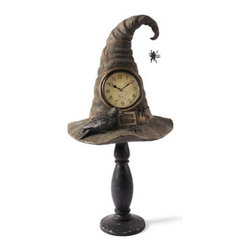 Grandin Road - Witch Hat Pedestal Clock - Halloween Decorations and Decor - Realistic witch hat form, with working clock, placed on a pedestal. The fanciful design features a perched crow and spider details that will leave fright night revelers spellbound. Crafted for Halloweens to come from artist-quality resin. Requires one AA battery (not included). Know the exact moment the eye of newt has simmered to perfection, or count down the minutes to the witching hour with our imaginative Witch Hat Pedestal Clock. Our crystal ball predicts your Halloween guests will find it frightfully fun prominently displayed on a mantel or any tabletop.  .  .  .  . Simple assembly.