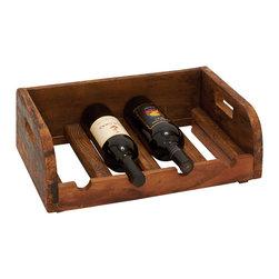 Grand and Polished Wood Wine Bottle Holder - Description: