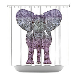 DiaNoche Designs - Elephant Purple Shower Curtain - Sewn reinforced holes for shower curtain rings. Shower curtain rings not included. Dye Sublimation printing adheres the ink to the material for long life and durability. Machine washable. Made in USA.