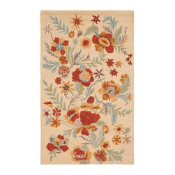 Safavieh - Blossom Rug, Beige/Multi, 8' x 10' - 100% pure virgin wool pile, hand-hooked to floral designs with neutral tones. This collection is handmade in India exclusively for Safavieh.