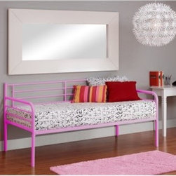 Kearns Daybed - Pink - Fun and stylish, the contemporary Kearns Daybed - Pink has chrome detailing and curved lines which beautifully accent the pink finish of this daybed. Its space-saving functionality and design makes this daybed a great choice for a guest room or your child's room. Crafted from strong and durable metal that will last for years, this bed meets ASTM and CPC safety specifications and the bed can hold up to 175 lbs. Additional Features Made for use without a box spring Features chrome detailing and curved lines About Dorel IndustriesFounded in 1962, Dorel Industries is a family of over 26 brands, including bicycle brands Schwinn and Mongoose, baby lines Safety 1st and Quinny, as well as home furnishing brands Ameriwood and Altra Furniture. Their home furnishing division specializes in ready-to-assemble pieces, including futons, microwave stands, ladders, and more. Employing over 4,500 people in 17 countries and over four continents, Dorel is renowned for their product diversity and exceptionally strong commitment to quality.