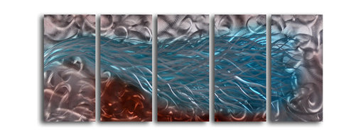 """'Drenched Blaze' 5 Piece Handmade Metal Wall Art Set - Size: 24"""" x 60"""" (24"""" x 12"""" x 5pc).  Enjoy a 100% hand crafted metal wall art made of high grade brushed aluminum over a 1/2 inch thick inner wooden frame. This beautiful wall decor is hand painted and ready to hang out of the box. Each aluminum sheet is hand sanded and hand grinded until the desired holographic effect is accomplished. This process brings the artwork to life and you see it moving as you walk by. Then the grinded panels are hand painted with multiple layers of paint and finished with clear UV coat. With each purchase of our metal art you receive a one of a kind piece due to the handcrafted nature of the product. Hand crafted by a single talented artist. Due to the handcrafted nature, each piece may have subtle differences."""
