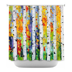 DiaNoche Designs - Shower Curtain Artistic Birch Trees - DiaNoche Designs works with artists from around the world to bring unique, artistic products to decorate all aspects of your home.  Our designer Shower Curtains will be the talk of every guest to visit your bathroom!  Our Shower Curtains have Sewn reinforced holes for curtain rings, Shower Curtain Rings Not Included.  Dye Sublimation printing adheres the ink to the material for long life and durability. Machine Wash upon arrival for maximum softness. Made in USA.  Shower Curtain Rings Not Included.