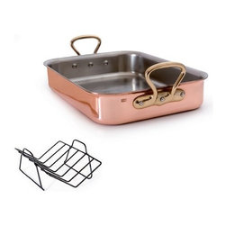 """Mauviel - Mauviel M'heritage Tri-Ply Roaster & Rack, Bronze Handle, 15.7"""" x 11.8"""" - Bilaminated copper stainless steel (90% copper and 10% 18/10 stainless steel)"""