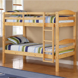 "Home Loft Concept - Twin over Twin Bunk Bed with Built-In Ladder - Crafted from beautiful solid wood, the Twin over Twin Bunk Bed with Built-In Ladder by Home Loft Concept is functional, sturdy and exceptionally stylish. Choose from available white, honey or natural finishes to let this airy design work seamlessly with any space. With space for two 9 high mattresses (not included), the slatted design doesnt need a box spring, giving each sleeper more headroom. Theres 30 of space between the top and bottom bunks. The open area under the legs leaves space for storing clothes, toys, books and more. The sturdy Twin over Twin Bunk Bed with Built-In Ladder conforms to the latest consumer product safety standards, and can hold up to 250 lbs. per bed. The built-in ladder provides an easy way for children to get to the top bunk while the included top-bunk guardrails add a layer of safety for sleepers. Whether kids share a bedroom, or youre looking for a guest-ready bed for sleepovers and visitors, this bunk bed is the stylish solution. Give your children more room to read, study, and play with the Twin over Twin Bunk Bed with Built-In Ladder. At 65 H x 80 W x 42 D, it is a smart use of space in any childs room. Features: -Contemporary design.-Easily and safely separates into two individual Twin beds.-Conforms to the latest consumer product safety standards.-Does not include mattresses or bedding.-Each bunk will hold up to 250 lbs.-Maximum recommended upper mattress thickness of 9''.-Solid hardwood construction.-Distressed: No.-Hardware Finish: Metal.-Powder Coated Finish: No.-Gloss Finish: No.-Frame Material: Solid wood.-Solid Wood Construction: Yes.-Number of Items Included: Bed frame.-Hardware Material: Metal.-Stain Resistant: No.-Scratch Resistant: No.-Configuration: Twin over twin.-Mattress Included: No.-Boxspring Required Top Bed: No.-Converts to Two Beds: Yes.-Slat System Included: Yes.-Guardrail(s) Included: Yes.-Trundle Bed Included: No.-Ladder Included: Yes -Ladder Location: Front..-Casters: No.-Slide: No.-Headboard Storage: No.-Also Suitable for Adults: Yes.-Weight Capacity Top Bed: 250 lbs.-Weight Capacity Bottom Bed or Futon: 250 lbs.-Swatch Available: No.-Commercial Use: No.-Product Care: Wipe with dry / wet cloth.Specifications: -ISTA 3A Certified: Yes.Dimensions: -Overall Product Weight: 112 lbs.-Overall Height - Top to Bottom: 65"".-Overall Width - Side to Side: 42"".-Overall Depth - Front to Back: 80"".-Distance Between Top and Bottom Bunk: 30"".-Bottom of Lower Bunk to Floor: 10"".-Headboard Height Top to Bottom: 15"".-Footboard Height Top to Bottom: 15"".-Mattress: No.-Built In Desk: No.Assembly: -Assembly Required: Yes.-Tools Needed: Tools provided.-Additional Parts Required: No.Warranty: -Product Warranty: 30 Day defect."