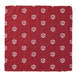 Montauk Wheels Napkin, Set of 2, Red/White