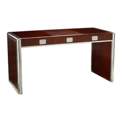 French Heritage - Ferault Desk, Dark Cherry & Burgundy - An absolutely riveting desk with a racy mahogany finish proves that industrial can be beautiful. The piece maintains its slim profile even as it offers three drawers for office essentials. - Three Drawers. - Weight: 139lbs