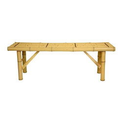 Oriental Unlimited - 4 ft. Wide Japanese Bamboo Folding Bench in L - The Japanese style folding leg bamboo benches can be used as either a medium length bench or a long length coffee table. Unique, beautiful and practical. Great as a bench or a coffee table. Bamboo is an eco-friendly, fast growing building material. Almost as hard as oak and as light as balsa wood. Bamboo is an extremely abundant, sustainable, and eco-friendly. Bamboo is almost as hard as oak, lasts almost as long, and is much lighter in weight, and hence has a much smaller carbon foot print. Convenient folding legs for easy shipping and relocation. Shipped with the convenient folding legs down. Hand crafted from kiln dried, high quality whole bamboo. Choose either the light, beached stain, or the dark, more natural look finish. Shown in light stained design. Minimal assembly required. 14.1 in. L x 47.25 in. W x 15.75 in. H