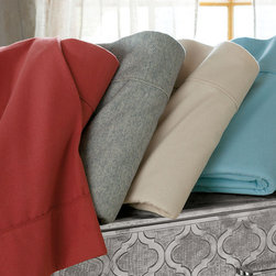 Finest Flannel Sheet Set - These truly are the finest flannel sheets we've ever come across. Crafted in Portugal of yarn-dyed cotton flannel that's been gently brushed on both sides for blissful softness, the flat sheets and cases are accented with sophisticated tonal piping. Best of all, these sheets will retain their luxurious hand, wash after wash.