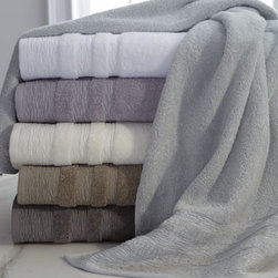 """Kassatex - Kassatex St. Germain Bath Towel - The interesting dobby and sophisticated color palette of these low-twist jacquard towels caught our eye. Made in Turkey of Mesopotamian long-staple combed cotton. Machine wash. Bath towel, 30"""" x 54"""". Hand towel, 18"""" x 28"""". Face cloth, 13""""Sq. Select..."""
