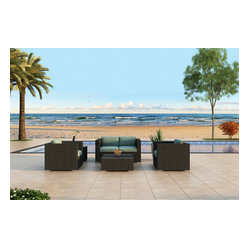 Urbana 4-Piece Modern Wicker Sofa Set, Spa Cushions