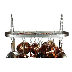 "HSM - 34 Inch Oval Stainless Steel Pot Rack - Dimensions: 36"" H X 13"" W X 2"" D"