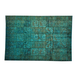 1800-Get-A-Rug - Garden Design Persian Bakhtiari Rug Overdyed Hand Knotted 100% Wool Sh17036 - The Overdyed and Patchwork hand knotted rug, represents one of the hottest trends in the industry today. Each Overdyed rug is stripped of its original colors, then dyed again in vibrant hues, to create unique and one-of-a-kind pieces. The Patchwork rug is handcrafted out of salvaged, vintage carpets, with a variety of colors combining to form a wholly unique and textured design.