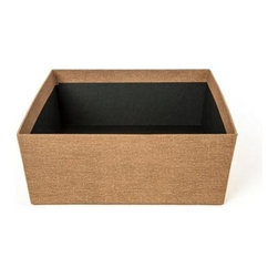 Bigso - Bigso Sutton Storage Bin - Brown Canvas, Set of 2 - Organize important papers or store socks and ties in our grey Sutton Open Storage Bins. Covered with a textured canvas paper, these sophisticated tapered boxes are made from sturdy recycled fiberboard construction and thick laminated canvas paper exterior.