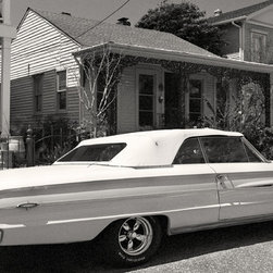 The Andy Moine Company LLC - 1964 Ford Galaxie Garden District New Orleans LA Black and White Photography, 20 - Black and White Fine Art Photography captured with 35MM Ilford Film and reproduced in Limited Editions on Canvas OR Brushed Aluminum. This is a beautiful composition of a carefully restored 1964 Ford Galaxie against the backdrop of homes in the Garden District of New Orleans, Louisiana.