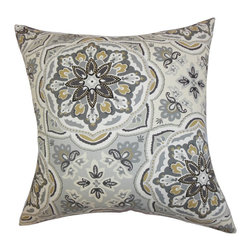 "The Pillow Collection - Luana Floral Pillow Gray 18"" x 18"" - Be your own interior decorator by adding flair to your living space with this beautiful accent pillow. Decorated with a floral detail in shades of gray, brown and white, this toss pillow adds coziness to your sofa, bed or seat. Made of 100% soft cotton material, this 18"" pillow is proudly crafted in the USA. Hidden zipper closure for easy cover removal.  Knife edge finish on all four sides.  Reversible pillow with the same fabric on the back side.  Spot cleaning suggested."