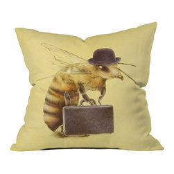 DENY Designs - Eric Fan Worker Bee Outdoor Throw Pillow - Do you hear that noise? It's your outdoor area begging for a facelift and what better way to turn up the chic than with our outdoor throw pillow collection? Made from water and mildew proof woven polyester, our indoor/outdoor throw pillow is the perfect way to add some vibrance and character to your boring outdoor furniture while giving the rain a run for its money. Custom printed in the USA for every order.