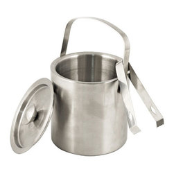 3 Pc. Hotelier Ice Bucket with Tongs - Classically styled and ready to go, this ice bucket and its matching tongs are a wise choice wherever your party takes you. Brushed stainless steel makes a handsome, lightweight choice that looks great at the home bar or moving about the room.
