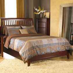 "Modus - City II Rake Slat Bed - The City II collection delivers the same modern chic styling as its older sibling but at a more affordable price. The group is constructed with tropical hardwoods and veneers. Features: -Contemporary, shaker-style slatted headboard.-Solid, plantation grown Mahogany wood frame.-Low profile rail-height footboard.-Designed for use with box spring (foundation) and mattress--5 inch low profile foundation recommended.-Powder Coated Finish: No.-Gloss Finish: No.-Non Toxic: No.-Scratch Resistant: No.-Mattress Included: No.-Headboard Storage: No.-Footboard Storage: No.-Underbed Storage: No.-Slats Required: Yes -Slats Included: Yes..-Center Support Legs: Yes.-Adjustable Headboard Height: No.-Adjustable Footboard Height: No.-Wingback: No.-Trundle Bed Included: No.-Attached Nightstand: No.-Cable Management: No.-Built in Outlets: No.-Lighted Headboard: No.-Distressed: No.-Bed Rails Included: Yes.-Collection: City II.-Eco-Friendly: No.-Recycled Content: No.-Canopy Frame: No.-Jewelry Compartment: No.-Swatch Available: No.Specifications: -FSC Certified: No.-EPP Compliant: No.-CPSIA or CPSC Compliant: No.-CARB Compliant: No.-JPMA Certified: No.-ASTM Certified: No.-ISTA 3A Certified: No.-PEFC Certified: No.-General Conformity Certificate: No.-Green Guard Certified: No.Dimensions: -Additional height measurements: Bottom of side rails 7"", top of bed slats 12"", top of side rails 14"".-Overall Height - Top to Bottom (Size: California King): 55"".-Overall Height - Top to Bottom (Size: Full): 55"".-Overall Height - Top to Bottom (Size: King): 55"".-Overall Height - Top to Bottom (Size: Queen): 55"".-Overall Width - Side to Side (Size: California King): 76"".-Overall Width - Side to Side (Size: Full): 58"".-Overall Width - Side to Side (Size: King): 80"".-Overall Width - Side to Side (Size: Queen): 64"".-Overall Depth - Front to Back (Size: California King): 92"".-Overall Depth - Front to Back (Size: Full): 83"".-Overall Depth - Front to Back (Size: King): 88"".-Overall Depth - Front to Back (Size: Queen): 88"".-Overall Product Weight (Size: California King): 127 lbs.-Overall Product Weight (Size: Full): 108 lbs.-Overall Product Weight (Size: King): 132 lbs.-Overall Product Weight (Size: Queen): 120 lbs.Assembly: -Metal to metal bed rail fittings for easy assembly and long term durability.-Assembly Required: Yes.-Additional Parts Required: No.Warranty: -Product Warranty: 1 Year."