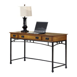 Home Styles - Home Styles Modern Craftsman Executive Desk in Deep Brown - Home Styles - Executive Desks - 505015 - Reminiscent of the American Craftsman Era with understated style and simplicity, the Modern Craftsman Executive Desk by Home Styles marries a traditional Distressed Oak finish on Poplar Solids with Oak Veneers and new age brown metal accents. The Modern Craftsman Executive Desk is equipped three drawers, one multi-function drop-down front center drawer with cable access; it can function as a keyboard tray or a large storage drawer, and two side storage drawers. All drawers are side mounted with easy-glide metal drawer guides. The only assembly required is attaching legs and stretchers. Desk is completed finished on all four sides. Size 54w 24d 30h. Work Space is approximately 1300 Square Inches.