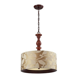 Elk Lighting - Elk Lighting Nathan Transitional Convertible Semi Flush Mount Ceiling / Pendant - This Pendant Collection Combines Rich Wood Tones With Stylish Fabrics For An Alluring Appearance.  Each Drum Shade Has A Realistic Wood Printed Band That Is Recessed Into The Bottom Of The Fabric Shade And Tapers Into A Frosted Glass Diffuser.   A Turned Wood Center Column Supports One Style While The Other Pendant Has The Versatility Of Extension Rods To Convert To A Semi Flush.  Choose From Dark Walnut With A Wheat Linen Or Foliage Patterned Fabric And Washed Pine With A Gray Or Slate Linen Fabric.