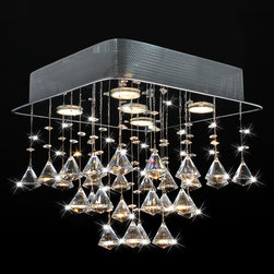 None - Chorus 5-light Chrome and Crystal Square Chandelier - The Chorus square ceiling chandelier is decorated with elegant crystal cones. This chandelier also offers a chrome finish, a 14-inch height, a steel base and a five-light design.