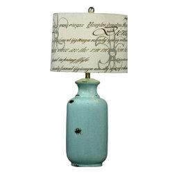 Bassett Mirror - Felicity Ant Aged Blue Ceramic Table Lamp - Felicity Ant Aged Blue Ceramic  Table Lamp by Bassett Mirror