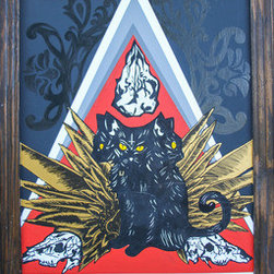 3-Headed Cat (Original) by Kellie Langewisch - This three-headed cat has a cute but menacing stare. With ornate victorian designs glazed in the background, golden feathers protruding, and skulls surrounding, this trio makes a nice centerpiece. This work is painted on wood with a bordering, built-in, wooden frame.