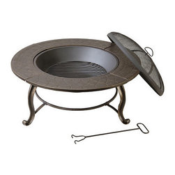 Kay Home Products - Provincial Outdoor Fire Bowl - Enjoy the tranquillity and warmth of a safe outdoor fire with the convenient, decorative Provincial fire pit from Deck mate. The attractive design features sturdy steel construction with an aged bronze finish. The steel fire bowls sits on sturdy cast iron legs with a fine mesh screen spark guard. This outdoor fire pit makes a great centrepiece at a small party or barbecue.Features:
