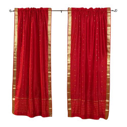 Indian Selections - Pair of Fire Brick Rod Pocket Sheer Sari Curtains, 43 X 84 In. - Size of each curtain: 43 Inches wide X 84 Inches drop