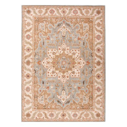 Jaipur Rugs - Hand-Tufted Oriental Pattern Wool Blue/Ivory Area Rug (5 x 8) - The Poeme Collection takes traditional designs and re-invents them in a palette of modern, highly livable colors. Each design is made from premiere hand-spun wool and crafted with precision for the look and feel of a hand-knotted rug, at the more affordable cost of a hand-tufted. Poeme will effortlessly coordinate individual design elements to finish any room.