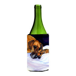 Caroline's Treasures - Natural Eared Fawn Great Dane Momma and Puppy Wine Bottle Koozie Hugger - Natural Eared Fawn Great Dane Momma and Puppy Wine Bottle Koozie Hugger Fits 750 ml. wine or other beverage bottles. Fits 24 oz. cans or pint bottles. Great collapsible koozie for large cans of beer, Energy Drinks or large Iced Tea beverages. Great to keep track of your beverage and add a bit of flair to a gathering. Wash the hugger in your washing machine. Design will not come off.